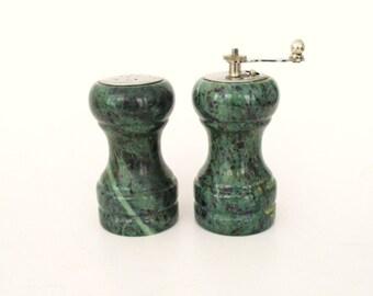 Green Granite Salt Shaker and Pepper Grinder