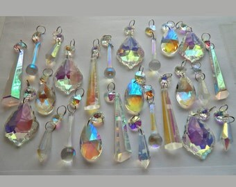 Aurora Borealis AB Chandelier Drops Glass Crystals Droplets Beads Christmas Tree Wedding Decoration 5 Shape Mix Feng Shui Crafts Light Parts