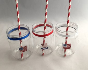 4th July Decorated Plastic Mason Jar Drink Cups or Treat Jars
