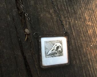 Soldered Glass Pendant with Mini Intaglio Print of Bird Skull