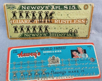 Vintage Hooks and Eyes - Vintage Sewing - Newey's Hooks & Eyes - 1940s