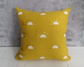 Mustard Yellow Linen Pillow Cover // Setting Sun Block Print Golden White Yellow Gold Decorative Throw Cushion Cover Bedding Accent Ochre