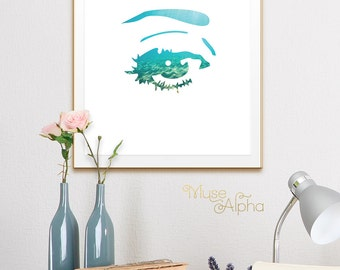Sea Eye Print, Blue Fashion Print, Turquoise Fashion Art Teal Fashion Printable Fashion Poster, Fashion Decor Fashion Wall, Fashion Picture