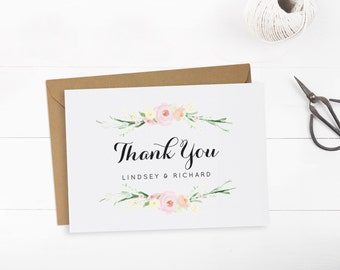 Printable wedding thank you card template, Editable text and color, Floral thank you card, INSTANT DOWNLOAD, Edit in Word or Pages