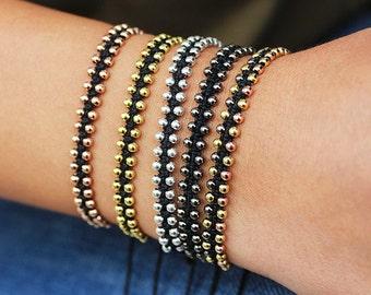 Sterling silver Beaded bracelet, Bracelet, Rose gold, Gold, Black gold Vermeil, Delicate bracelet, minimalism, Dainty Bracelet / Skinny