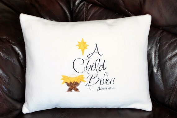 A Child is Born Pillow - Holiday Decor, Throw Pillow, 0ff-White, Christmas Decoration