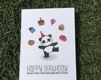 Celebrate Your Birthday | Panda Birthday Card | Handmade