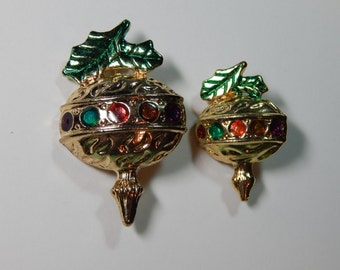Vintage 1950's Matched Pair of Multi Colored Enameled Ornaments - Bulb Pins - Brooches