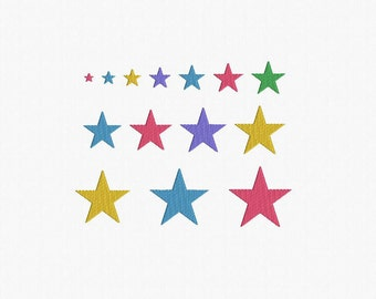 Mini Stars Machine Embroidery Design - 14 Sizes