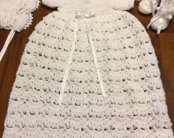 Baby christening gown, baptismal gown, white baby dress