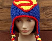 Crochet Superman Earflap Hat - Size Child