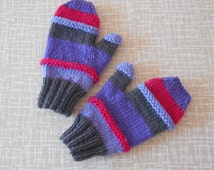 Wooly mittens, sized for pre-teens, say 8yrs up,hand size 14cm(width round hand across palm), 100% wool,cheery colours for autumn/winter.