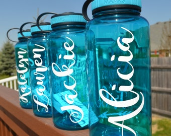 SET of 9 Personalized Water Bottle // Custom Listing // Large 34oz Plastic Bottle // Gift for Her // Gym // Workout // Sports Bottle