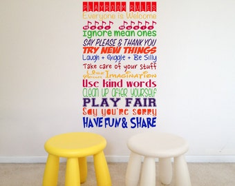 Playroom Rules, Have Fun, Use Your Imagination, Toys, Play, Children's, School, Nursery, Kindergarten, Wall Art Vinyl Decal Sticker