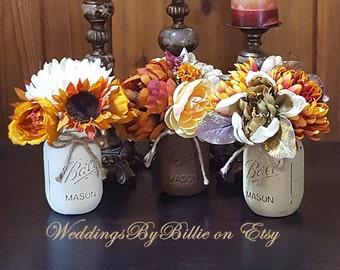 Fall Wedding Table Centerpiece Flowers Reception Aisle