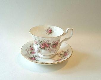 Royal Albert Lavender Rose Tea Cup, Royal Albert Lavender Rose, Tea Cup And Saucer, Bone China, 1960s, Vintage Drinkware