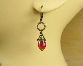 Earrings LANCELOT, medieval earrings, bronze orange red, small earrings, fairy magical mystical, vintage style handmade