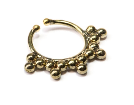 Septum Ring Brass Nickel Free Septum Fake Septum Tribal Jewelery Indian Nose Ring B31 Gift Boxed and Gift Bag Free UK Delivery
