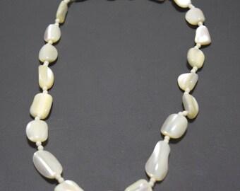Vintage White Bead Necklace-Retro-Beaded-Gift for Her-Medium Length