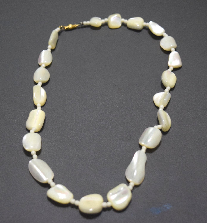 vintage white bead necklace retro beaded gift for medium