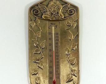 Vintage Brass Cherub Thermometer Metallic Home Garden Decor