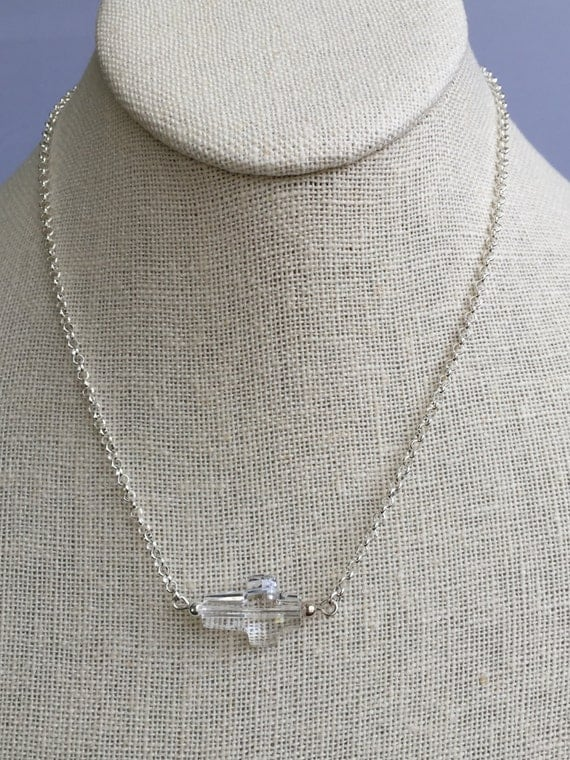 Crystal Cross Sterling Silver Necklace
