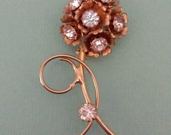 Retro Rhinestone Flower Brooch-Mid Century-Flower Pin