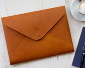 MONOGRAM A4 Leather Document Portfolio Case Letter Paper Tablet Folder Holder Custom  Tan