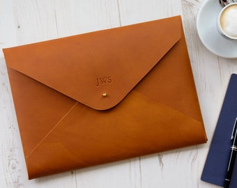 A4 MONOGRAM Leather Document Portfolio Folio Case Letter Paper Folder Holder Custom Personalized - Tan