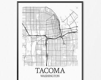 Tacoma Map Art Print, Tacoma Poster Map of Tacoma Decor, Tacoma City Map Art, Tacoma Gift, Tacoma Washington Art Poster