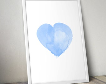 Instant digital download set of 4 watercolour heart prints