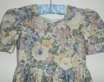Vintage 1980s Floral Short Sleeve Dress by Pronuptia 5 Years Bridesmaid / Party Dress
