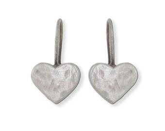Silver Heart Earrings, Small Heart Earrings, Minimal Earrings, Heart Earrings, Matte Silver Hearts, Brushed Silver Hearts, Hammered Hearts
