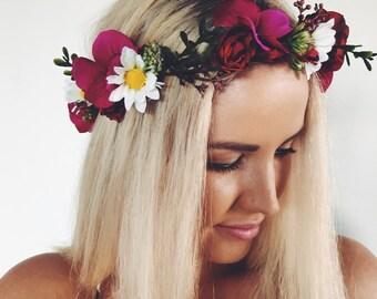 Delta Flower Crown- Dark Pink Floral Headpiece