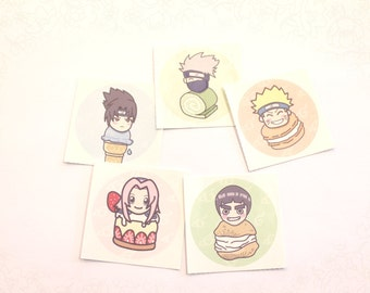 Naruto Desserts Round Stickers - So kawaii!