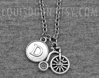Bike Necklace -Bicycle Necklace -Sport -Cycling -Cyclist -Initial Charm Necklace -Your Choice of A to Z
