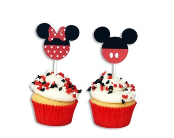 12 Minnie / Mickey Cupcake Toppers, Minnie Birthday, Mickey Birthday, First Birthday