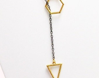 Geometric Triangle and Hexagon - Statement necklace - Black chain necklace - contemporay necklace - minimal necklace - stacking necklace