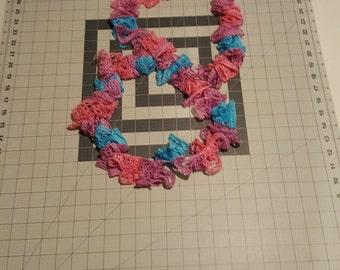 Child Scarf, Kids size Fashion Scarf in Pink & Blue Fashion Yarn, Crochet Fashion Scarf