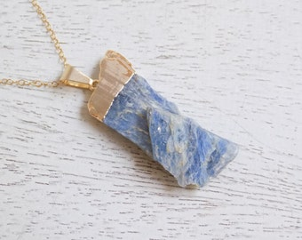 Rustic Necklace, Blue Kyanite Necklace, Raw Kyanite Necklace, Bohemian Necklace, Kyanite Pendant, Gold Layer Necklace, Boho Necklace, 6-50