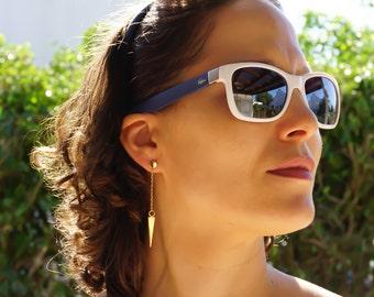 Simple Earrings Gold, Minimal Earrings, Triangle Earrings, Chain Gold Earrings, Geometric earrings, Dangle Earrings, Minimalist Earrings