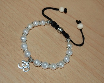 Natural Fresh Water Pearl 9mm,Om,Yoga Charm Bracelet,Shamballa Style,Easy Fits