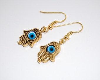 Hamsa Hand Earrings,Evil Eye Earrings,Yoga,Drop Earrings,Dangle Earings,Boho Jewelry,Woman,Girl,Chic,Relieve, Protection, Meditation