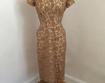 Vintage Pin Up Dress 1940s Lace and Taffeta Party Dress, Size Med/Large SALE!
