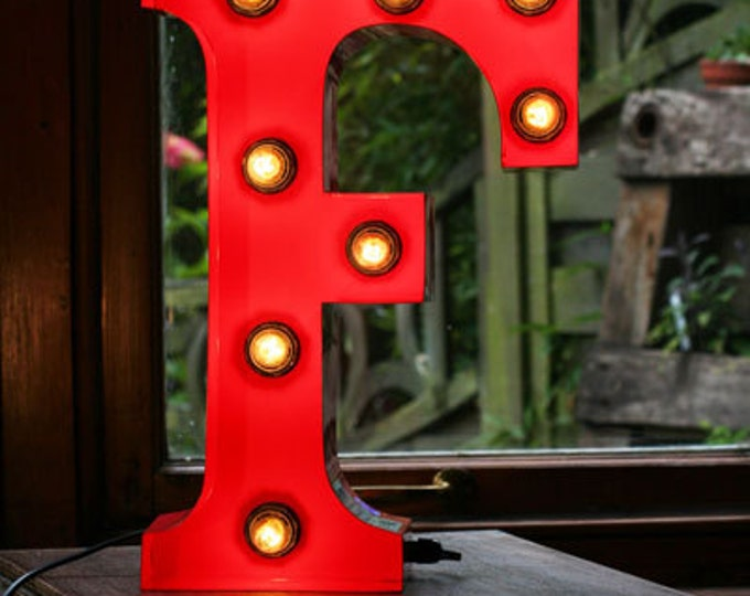 """15""""/ 38cm Mains Powered Vintage Marquee Letter Light - Letter F - Floor Light - Letter Prop/Display - Available in Rusty or Red"""