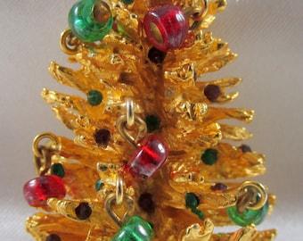 Philip Hulitar Two Dimensional Rhinestone Christmas Tree Brooch