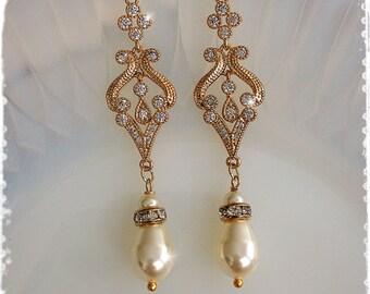 """1920s Art Deco Gatsby Bridal Crystal Pearl Drop Gold Earrings-Downton Abbey Vintage Wedding Cubic Zirconia Chandelier Earrings-""""BELLE gold"""""""
