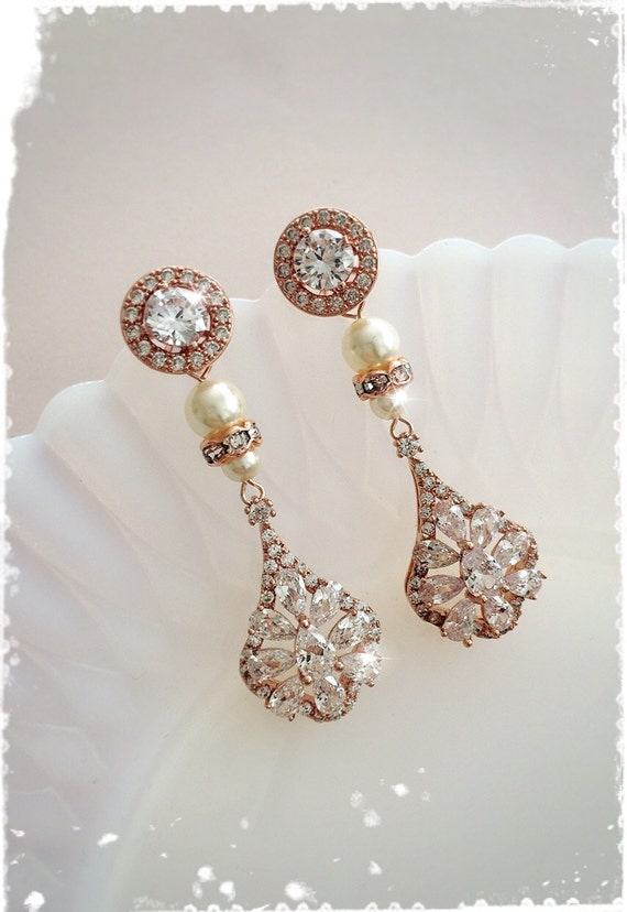 Luxury art deco rose gold bridal crystal earrings victorian for Deco maison rose gold