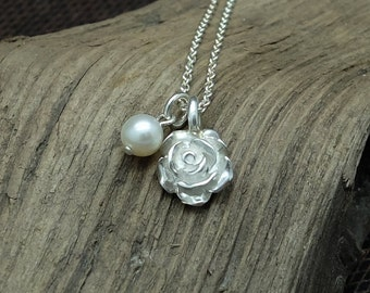 Silver Necklace 'Rose', Silver Pendant, Charm Necklace, Pearl, Flower Jewelry, Pearl Jewelry, Blossom, Floral