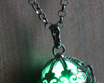 Green Ornate Glowing Orb Pendant Necklace Infinity Stones Locket Black, Romantic Gift for Her, glow Jewelry